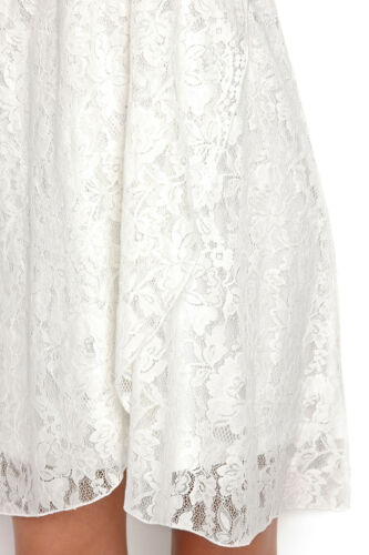 Ladies Off-White Ivory Wrap Lace Strappy Dress in UK Size 6-20