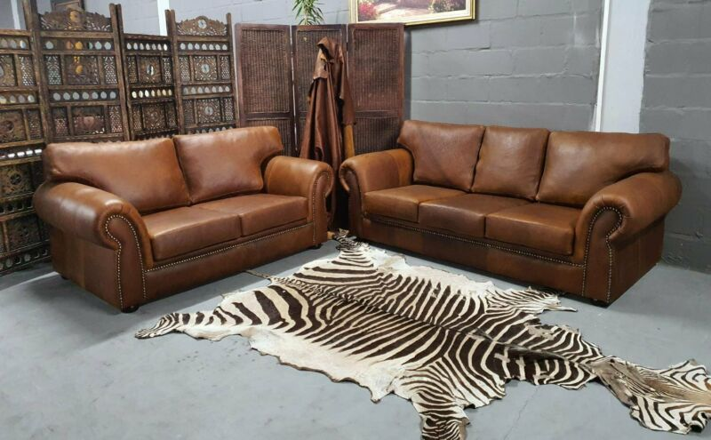 Canterbury Genuine Leather 2pc Lounge Suite, Available in Butterscotch, 021 933 4858