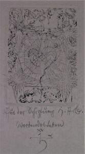 TOP Radierung OSTERN 1920  AUFERSTEHUNG - SCHÖPFUNG - EMBRYO in Herzform sign.HT