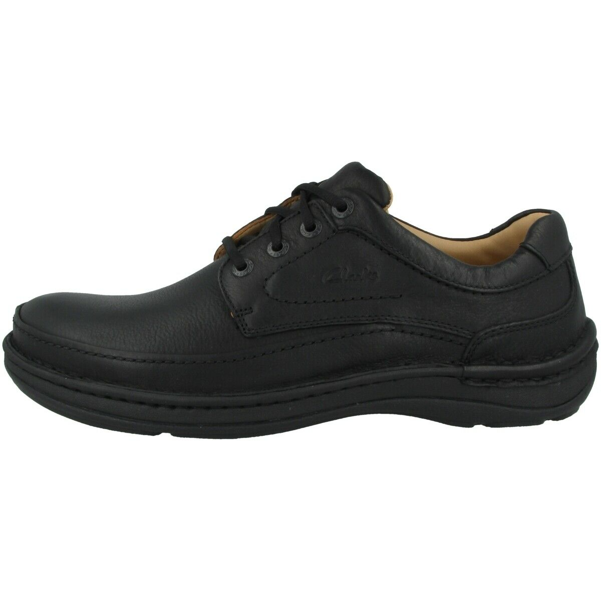 Clarks Nature Three Schuhe Herren Halbschuhe Leder Schnürschuhe schwarz 20339008