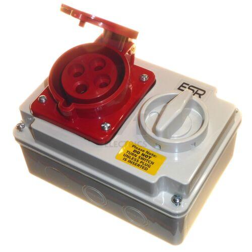 32 Amp 4 Pin Socket fase de Enclavamiento Interruptor 32A 3 3P+E IP44 Rojo 380 - 415V