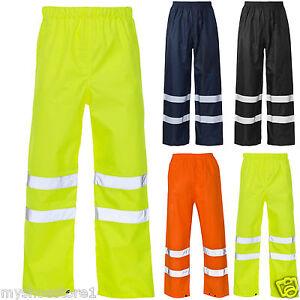 Hola-Vis-visibilidad-Viz-mas-Pantalones-refelective-Seguridad-Work-Wear-Impermeable-Pantalon