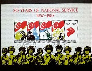 Singapore-1987-20-Years-Of-National-Service-Miniature-Sheet-of-5-5v-Used