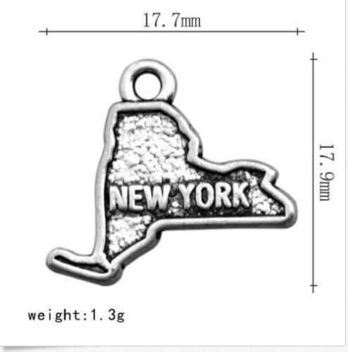 10pcs  Tibetan silver color NEW YORK  map design charms