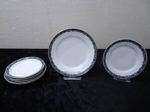 6-Piezas-Konvolut-Schwarzburg-Porcelana-Borde-Rosas-Vintage-Um-1900