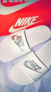 a819959d4 Nike Benassi Sandals in White with Silver Swarovski Crystals - Brand ...