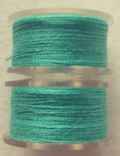 New Quality 2 x 25m Dark Mint Green Cotton Sewing Thread Bobbins Hand// Machines