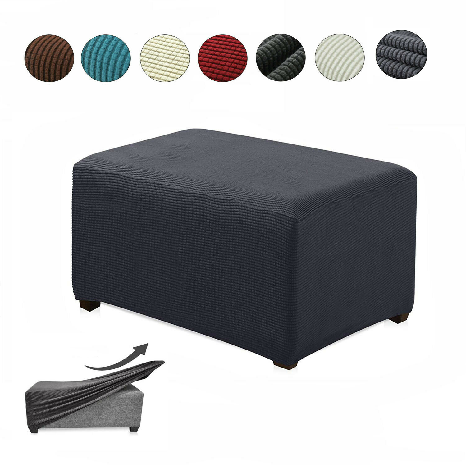 Sofa Footstool Cover Stretch Storage Ottoman Slipcover Overs