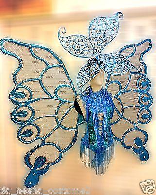 Da NeeNa C525 Grand Blue Butterfly Princess Crystal Headdress Wings Costume Set