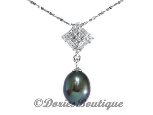 Flawless 16MM Dark Purple Drop Shape Pearl CZ 925 .925 Sterling Silver Pendant