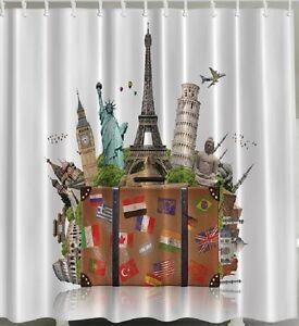 Travel Suitcase Fabric SHOWER CURTAIN London Paris Rome NY