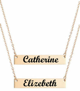 40ed46cdc49619 Image is loading Rose-Gold-Personalized-Engraved-Name-Plate-Bar-Necklace-
