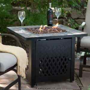 Outdoor Fire Pit Table Propane Gas Fireplace Patio Large Stone Cover - Large outdoor fire pit table