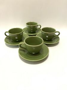 WILLIAMS-SONOMA-BELVEDERE-OLIVE-SAGE-GREEN-8-Piece-Set-4-Cups-and-4-Saucers