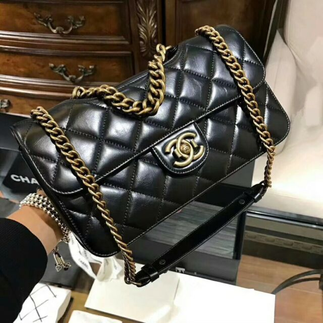 0823fc63941a Brand New Chanel Shiva Flap Bag Black Leather Bombay collection  AuthenticityCard