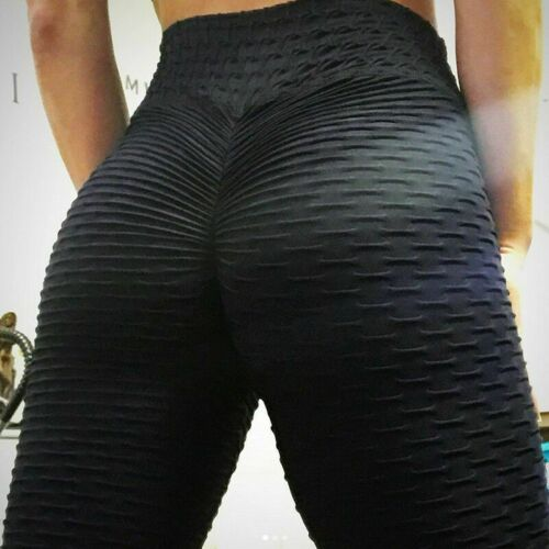 UK Women/'s Yoga Gym Anti-Cellulite Compression Leggings Butt Lift Elastic Pants