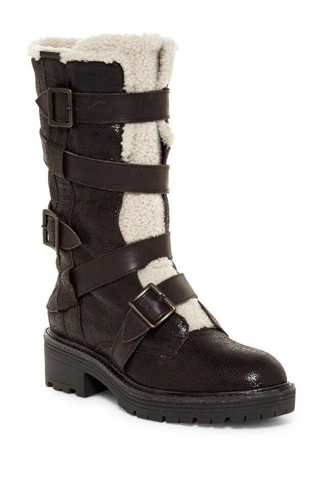 NEU Kelsi Dagger Brooklyn Damenschuhe Moore Buckle Stiefel Größe 7 Chocolate Braun