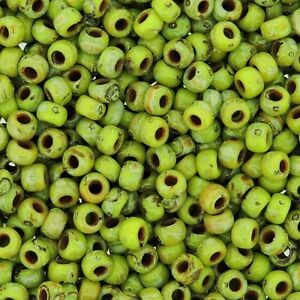 Miyuki-Round-Rocaille-Seed-Beads-Size-8-0-Picasso-Chartreuse-Matte-24G-8-4515