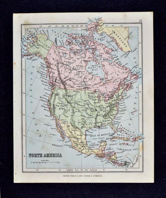 1889 Hughes Map North America United States Canada Mexico Cuba