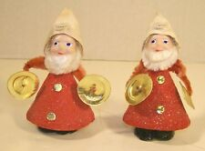 Pair of Vintage Chenille Musical Elves Christmas Ornaments Pipe Cleaner