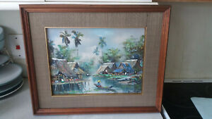 VINTAGE-RETRO-1960-70S-ORIENTAL-CHINESE-OIL-PAINTING-VILLAGE-SCENE-SIGNED