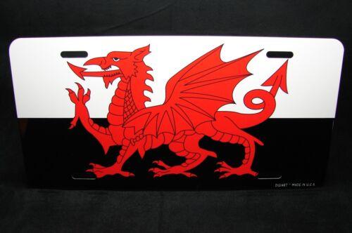 Welsh Dragon Kennzeichen für Autos Wales Flagge Schwarz und Weiß Format