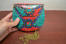 GOLD TURQUOISE RED CORAL BLUE LAPIZ LOOK HANDMADE METAL PURSE T-1181E