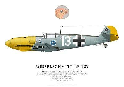 Print Messerschmitt Bf 109G-2 1943 by G. Marie 8.//JG 53 Franz Schieß