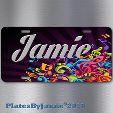 Music notes custom name or your text  ALUMINUM VANITY LICENSE PLATE TAG WOW!