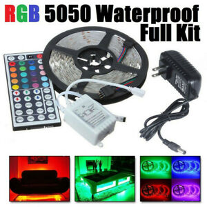 5M-16-5ft-RGB-Waterproof-LED-Strip-Light-5050-SMD-300-44-Key-Remote-DC-12V-Kit