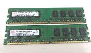 2x2GB Hynix HYMP 125U64CP8-S6 AB-C 4GB PC2-6400 DDR2 800 240 pin DIMM RAM