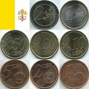Vatikan Euromünzen von 2002 bis 2021, unzirkuliert/bankfrisch