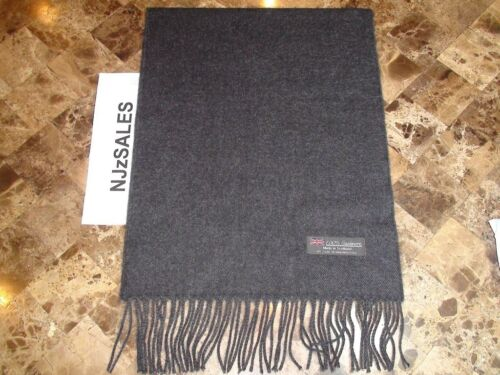 100/% CASHMERE WINTER SCARF SOLID Charcoal Gray Soft Warm Scotland Wool Men S10