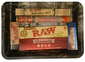 RAW Mini Forest Rolling Tray Set Kingsize Rolling Papers Tips and Bamboo Mat