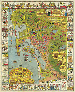 San Diego The City Beautiful Collage of Landmarks 1988 Poster 24 x 28