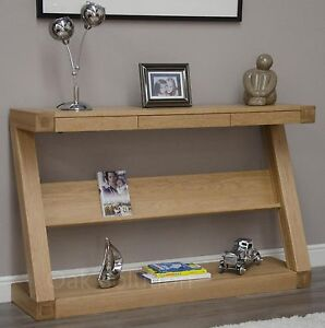 z solid oak designer furniture wide console hallway table