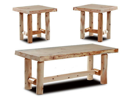 Rustic Log coffee and end table set Pine and Cedar bed furniture