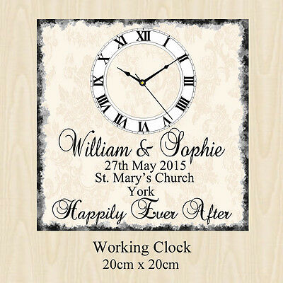 Personalised Wedding Day Clock Present Chic Gift Bride Groom Anniversary Framed