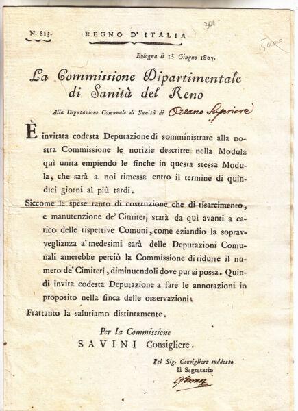 Radient Cc653-periodo Napoleonico-bologna 1807 Circolare Sui Cimiteri Attraente E Durevole