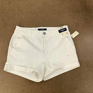 Aero-Women-039-s-Size-8-White-High-Rise-Midi-3-034-Inseam-Super-Soft-Shorts-NWT