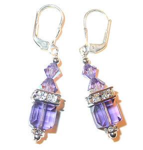 TANZANITE-PURPLE-Crystal-Earrings-8mm-Cube-Sterling-Silver-Swarovski-Elements