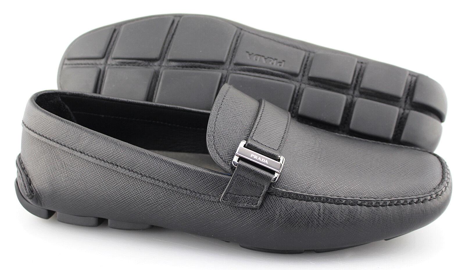 Uomo PRADA'Safignano 'nero Leather Lofers  Dimensione US 8 PRADA 7  100% autentico