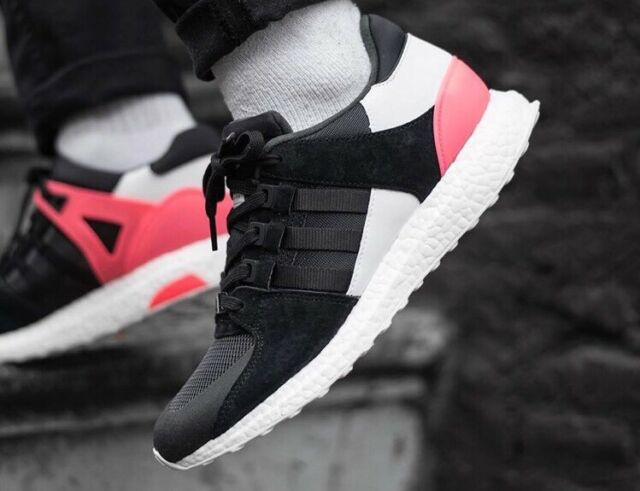 1d48429e048b9 Adidas EQT Equipment Support Ultra Boost 9.5 Black White Turbo Red Shoes  bb1237
