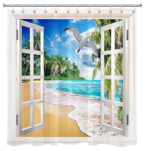 Sea Scenery Outside Window Shower Curtain Beach Seagull Bathroom Accessory Sets