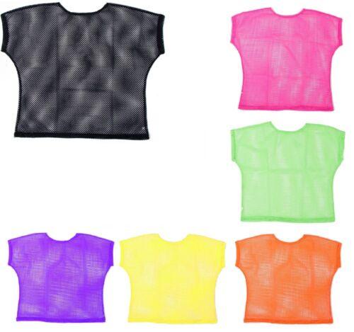 Ladies//Girls 1980`s Mesh Top Neon,Black,Blue,Green,Pink,Orange,Yellow One Size