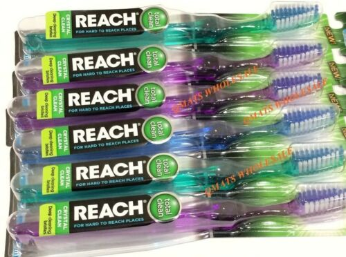 MADE IN USA MEDIUM 5Pcs REACH CRYSTAL CLEAN TOOTHBRUSHES FULL HEAD