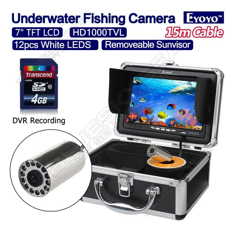 Cámara de video eyoyo 15M pantalla de 7  1000TVL bajo el agua 4GB Pesca Buscador de los pescados DVR
