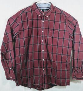ec654d2a Image is loading TOMMY-HILFIGER-Mens-Burgundy-Red-Plaid-Long-Sleeve-