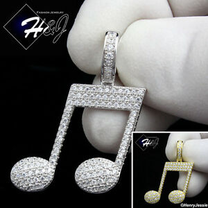 MEN-925-STERLING-SILVER-LAB-DIAMOND-SILVER-GOLD-ICED-OUT-MUSIC-NOTE-PENDANT-P153