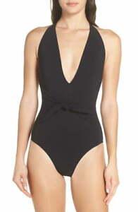 NEW TORY BURCH Tie Front One-Piece Swimsuit Size M Medium Black Retail $198